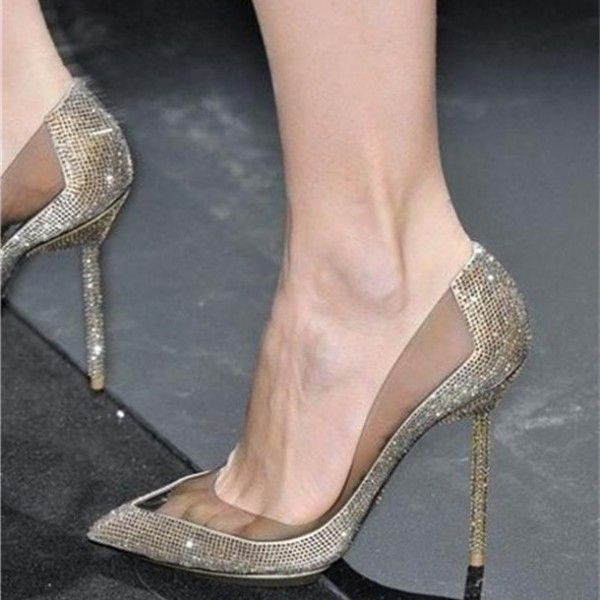 2bf4a08d52a Champagne Rhinestone Bridal Heels Pointy Toe PVC Stiletto Heels Pumps for  Work