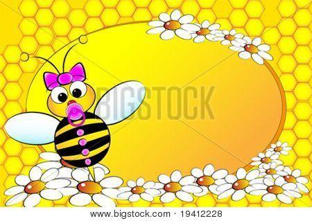 Ape famiglia: bambina con i fiori. Illustrazione di bambini