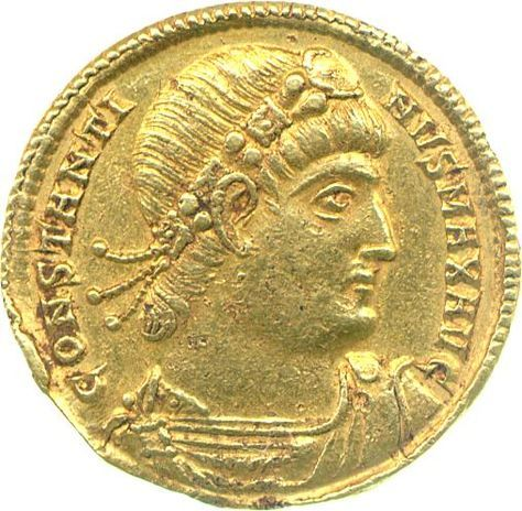 Gold solidus of Emperor Constantine I, Nicomedia, 335 A.D., on loan from Emmanuel College