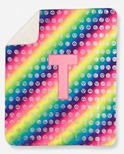 Girls Justice Emoji Initial T Sherpa Plush Blanket Personalized Rainbow Monogram  | eBay #personalizedblanket #personalized #blanket #initialblanket #justice #giftideas #girls