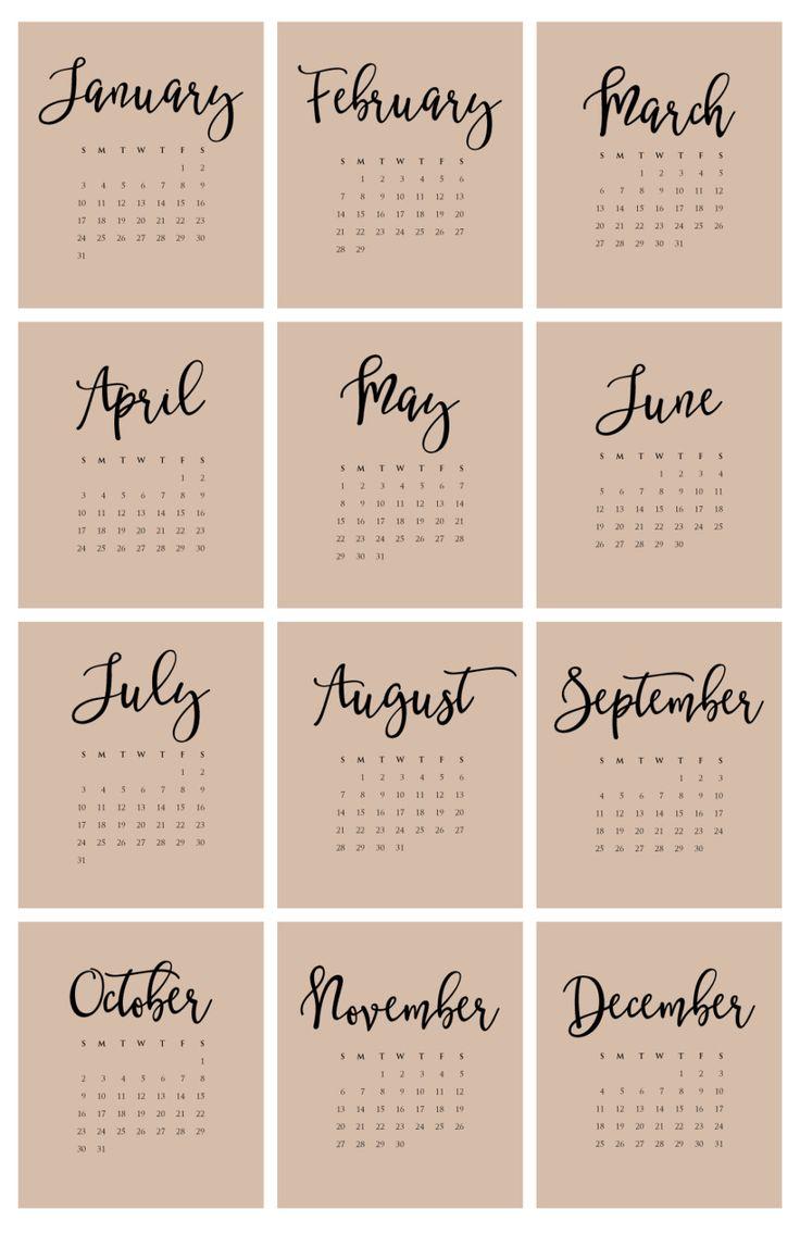 2016 Desktop Calendar Black Hand Lettered by ...