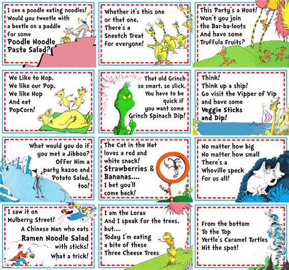Dr Seuss Party Food Labels- 16 Labels. $21.00, via Etsy.