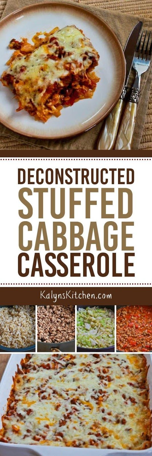 This Deconstructed Stuffed Cabbage Casserole is one of the most popular casseroles on my blog; PIN IT NOW so you can make the recipe when it's casserole season. [found on KalynsKitchen.com]