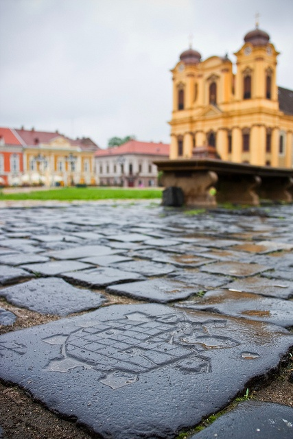 Union Square, Timisoara, my city. - with the stone representing the old fortress of the city