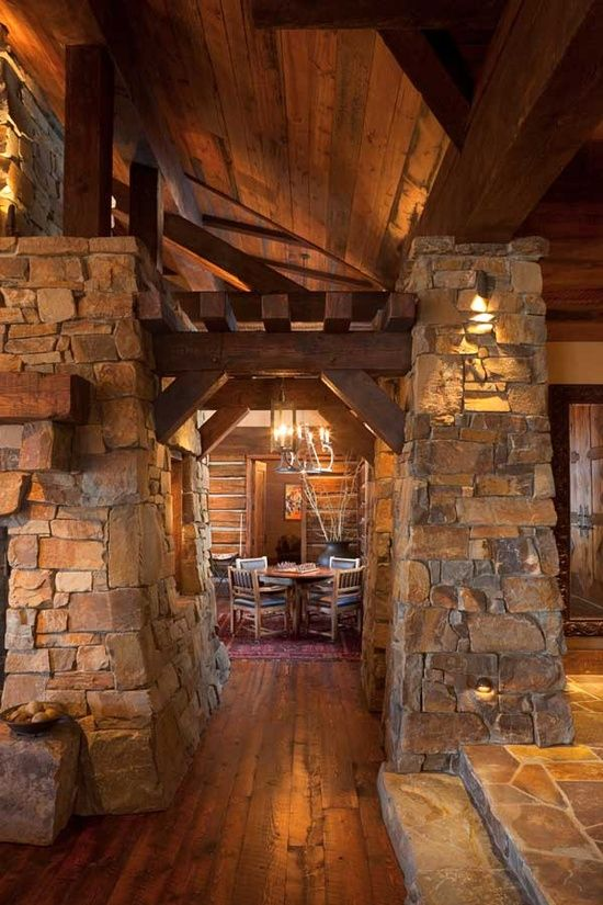 17 best ideas about stone columns on pinterest porch for Unique log cabin designs