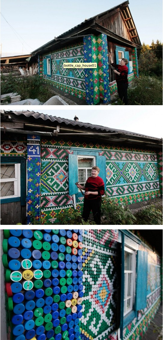 In the Russian village of Kamarchaga, in the Siberian Taiga, Russian pensioner Olga Kostina has used 30,000 plastic bottle caps to decorate her home with colourful patterns and images. Over the years it has become a local landmark.