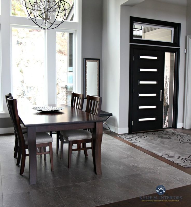 Dining Room And Entryway Foyer Black Modern Front Door Sherwin Williams Repose Gray