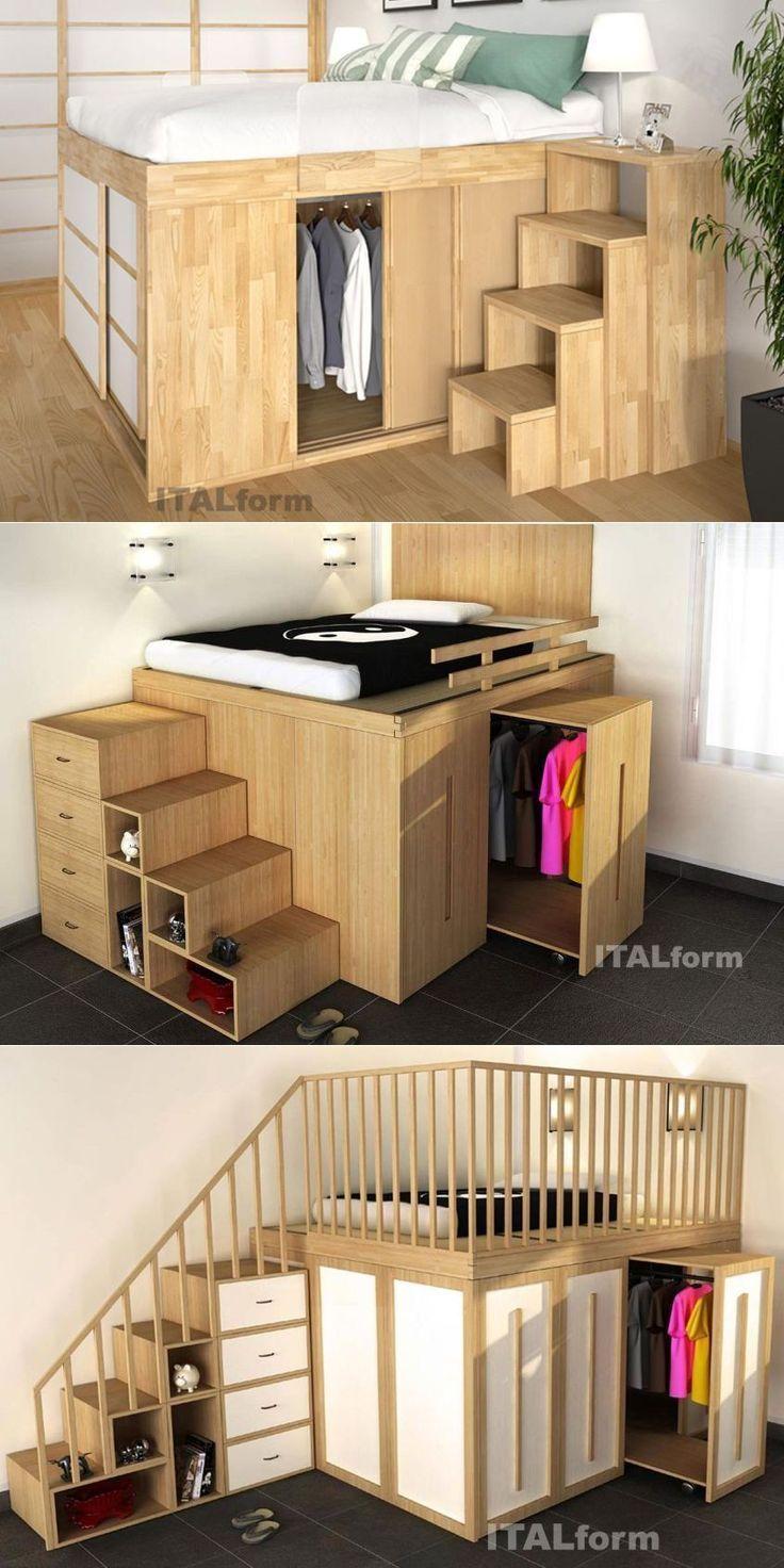 3 Idees De Petite Chambre D 39 Economie De L 39 Espace 3 Idees De Pe In 2020 Small Apartment Ideas Space Saving Small Bedroom Inspiration Space Saving Bedroom