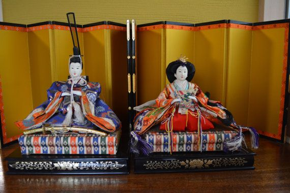 Japanese Hina doll pair, large, Emperor and Empress, vintage dolls with stands and screens