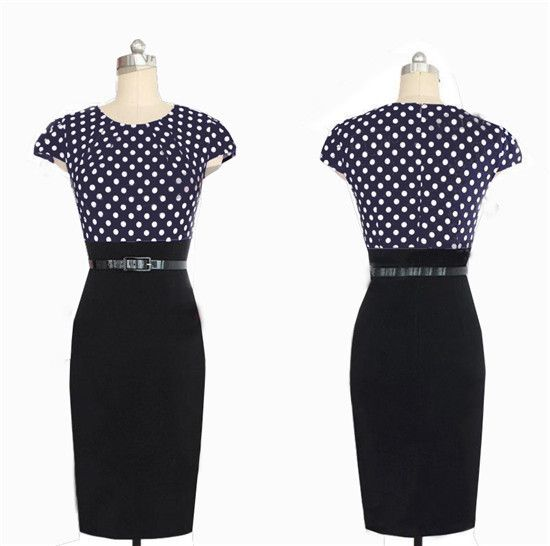 Elegant Women Polka Dot Pencil Dress, Blue, White