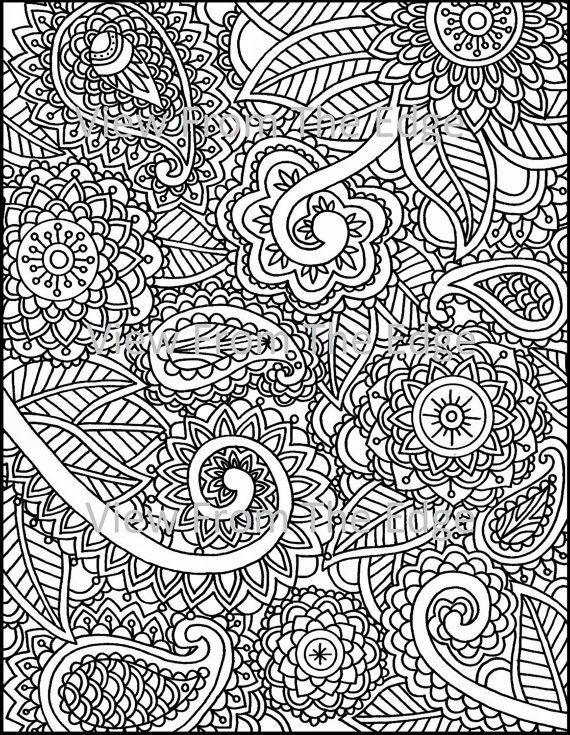 Mehndi coloring page henna adult printable pdf original for Henna coloring pages