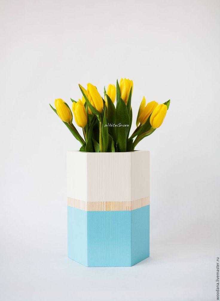 "Купить Деревянная ваза-кашпо ""Экстер"" - ваза, ваза для цветов, ваза декоративная, ваза для сухоцветов"