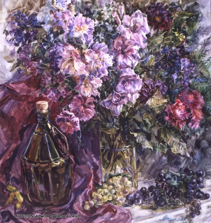 Tamara Zaiko. Flowers, vine and grape. Still life. Paper, watercolor. Subject: #art #artist #artwork #watercolor #painting #flowers #peonies #stillife. Тамара Заико. Цветы, вино и виноград. Бумага, акварель. Темы: натюрморт, цветы, пионы, букет.