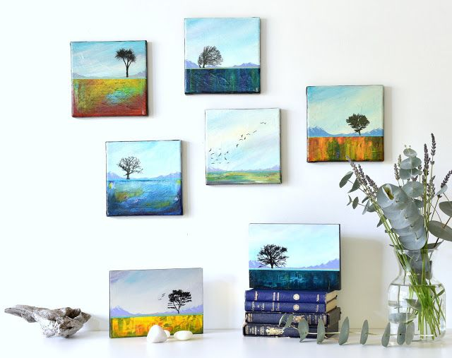 Small abstract landscape paintings - reflections of Central Otago, New Zealand