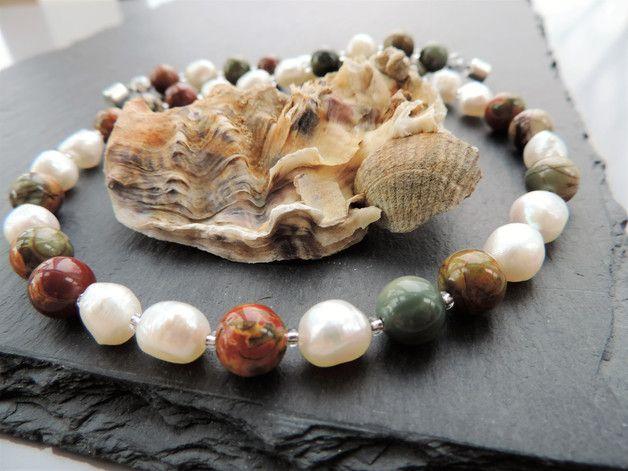 Perlenketten - Perlencollier mit Jaspis - ein Designerstück von Guggarella bei DaWanda