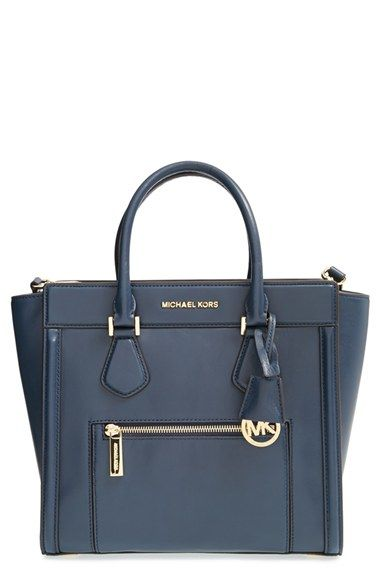 Free shipping and returns on MICHAEL Michael Kors 'Large Colette' Zip Detail Satchel at Nordstrom.com. Gorgeous, color-saturated leather composes a beautifully structured satchel polished with gleaming goldtone hardware. A gilt logo and signature medallion lend iconic sophistication to the versatile style.