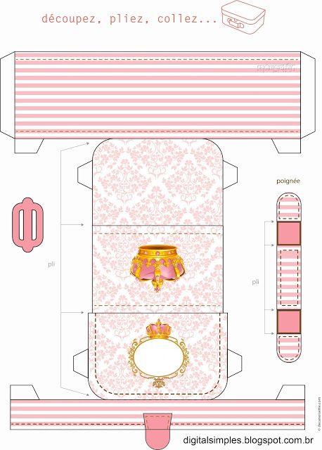 Corona en Rosa y Dorado: Caja con forma de Maleta Retro para Imprimir Gratis.
