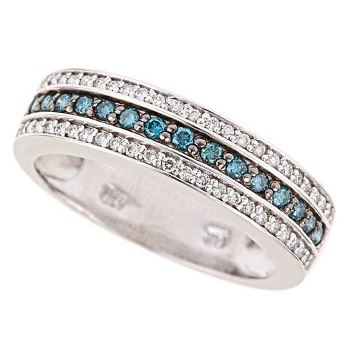 14K White Gold White Blue Diamond Wedding Anniversary « MyMallHome.com – Closest Shopping Mall on the Internet
