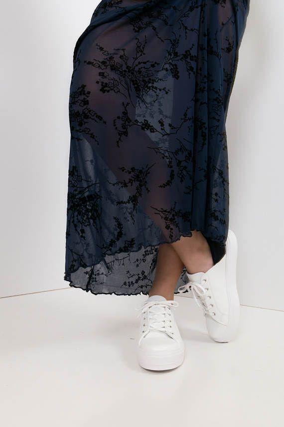 90s festival maxi dress - sheer Navy Mesh Maxi Dress / Black Oriental Floral