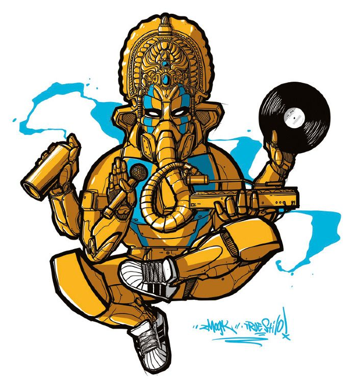 Hip-Hop Ganesh - Zmogk / TAD. The finest graffiti art since 1997