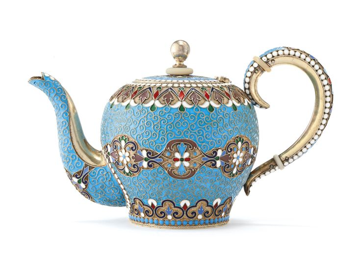 A Russian gilded silver and cloisonné enamel teapot, Lyubavin, St. Petersburg, 1899-1908 | Lot | Sotheby's