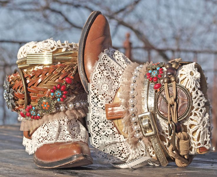 Upcycled REWORKED vintage festival boho COWBOY BOOTS - boho boots - western boots from TheLookFactory on Etsy
