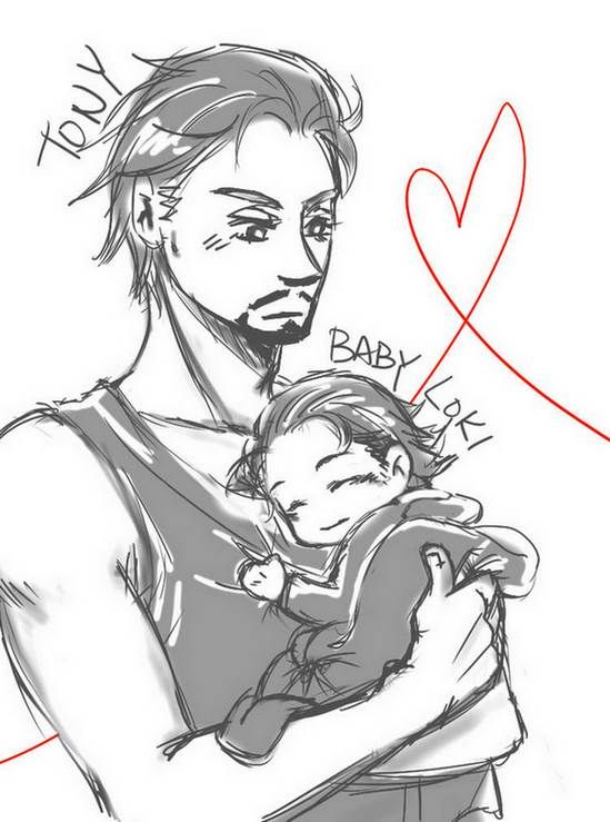 Tony and Baby Loki by joker4msy.deviantart.com on @deviantART ~ I know that Loki is older than Tony but this was to Cute! :)