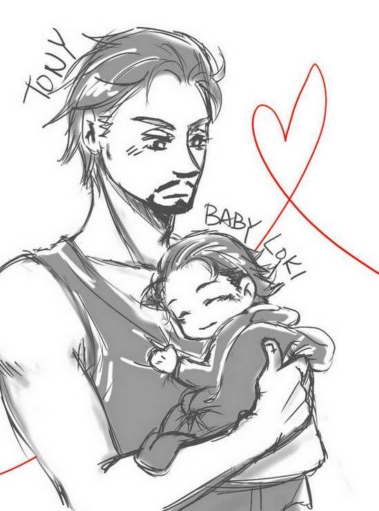 Tony and Baby Loki by joker4msy.deviantart.com on @deviantART
