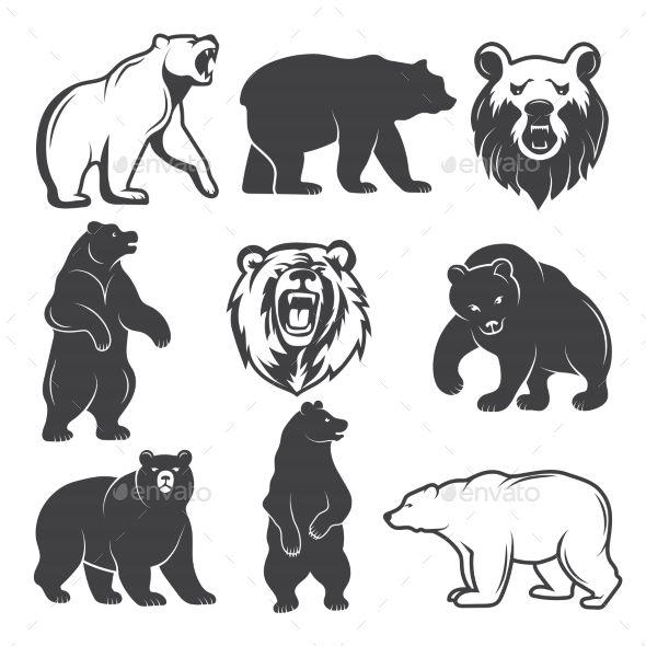 Monochrome Illustrations Of Stylized Bears Animals Badge Bear Black Cartoon Characters Cu Bear Logo Design Bear Tattoo Designs Bear Illustration