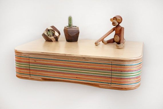 Floating Shelf made from birch plywood and recycled