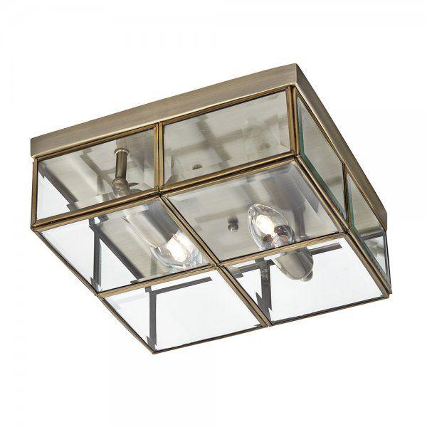Searchlight 6769-26AB | 2 Light Flush Ceiling Light Antique Brass  For the Man Room
