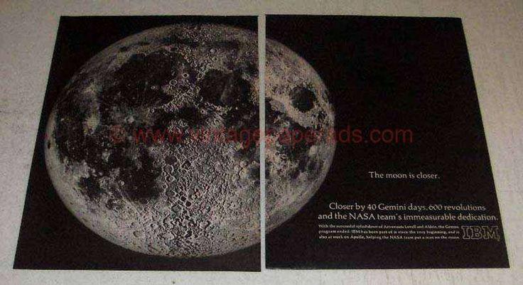 1966 IBM Gemini and Apollo Programs Ad - Moon is Closer
