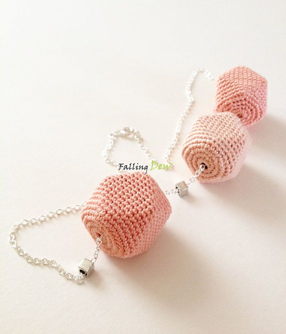 Geometric Form Necklace Pastel Colours Textile Jewellery Crochet Beads on Etsy, £15.29