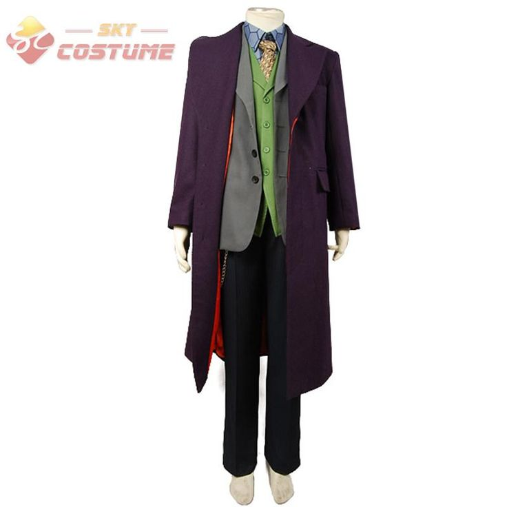 High Quality Batman The Dark Knight Joker Trench Coat+Blazer+pants+Vest+Shirt+Tie 6 Pc Full Set Cosplay joker Costume