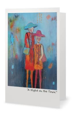 """""""A Night On the Town"""" 5X7"""" Blank inside. Created from an original painting by Patt Scrivener, AFCA"""