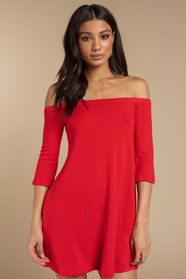 df56202c77b7 The Red Olly Off Shoulder Shift Dress makes it so easy. In a soft knit