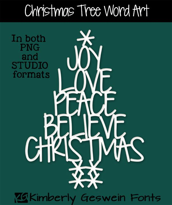 FREE Silhouette STUDIO cut file (also in PNG) for this cute Christmas tree word art.  Use this on your Silhouette Cameo or Silhouette Portrait.