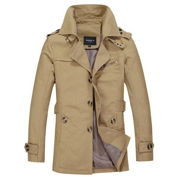 Turn-Down Collar Epaulet Single Breasted Long Sleeve Trench Coat For... ❤ liked on Polyvore featuring men's fashion, men's clothing, men's outerwear, men's coats, male clothes, mens trench coat, mens fur collar coat, mens single breasted pea coat and mens single breasted trench coat