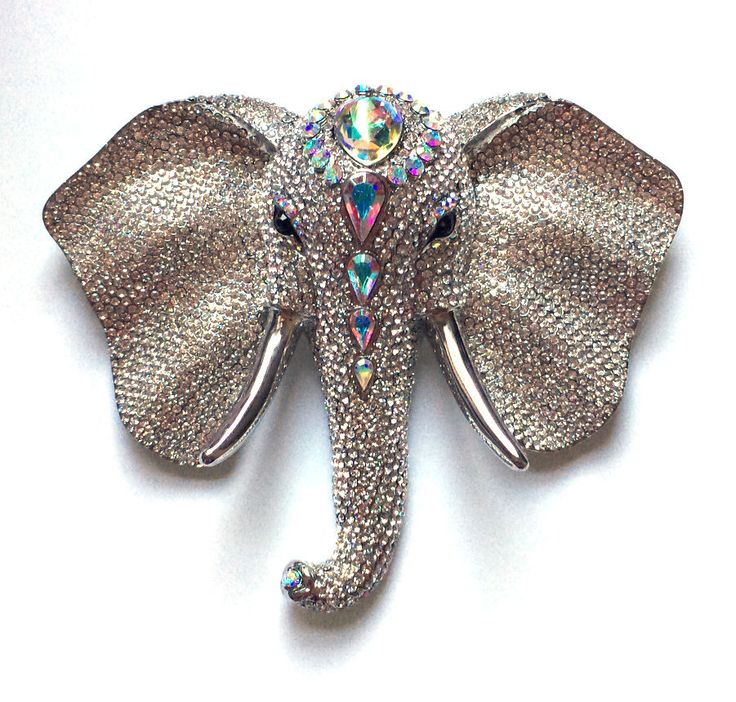 Butler and Wilson Clear Crystal Elephant Head Brooch Vintage Anniversary 45.