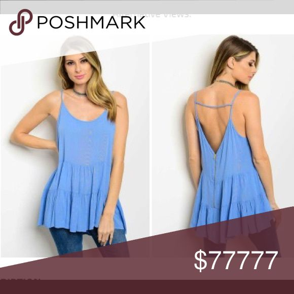 🦋 JUST IN! Cool blue flowy top Your new favorite! This cool and flowy blue strappy top with graduated ruffle bottom is perfect for summer, goes great with leggings, shorts and jeans. Cool 100% rayon. Also available in rose pink, separate listing. My Beloved Tops Tunics