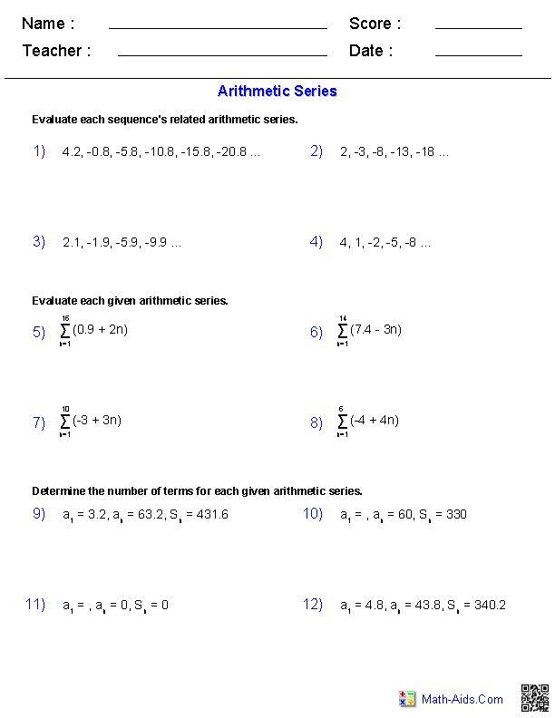 Arithmetic Series Worksheets Mathematics Pinterest Math