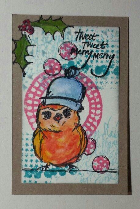 Made by Petra Tillmann. Dina Wakley scribbly holiday birdies.