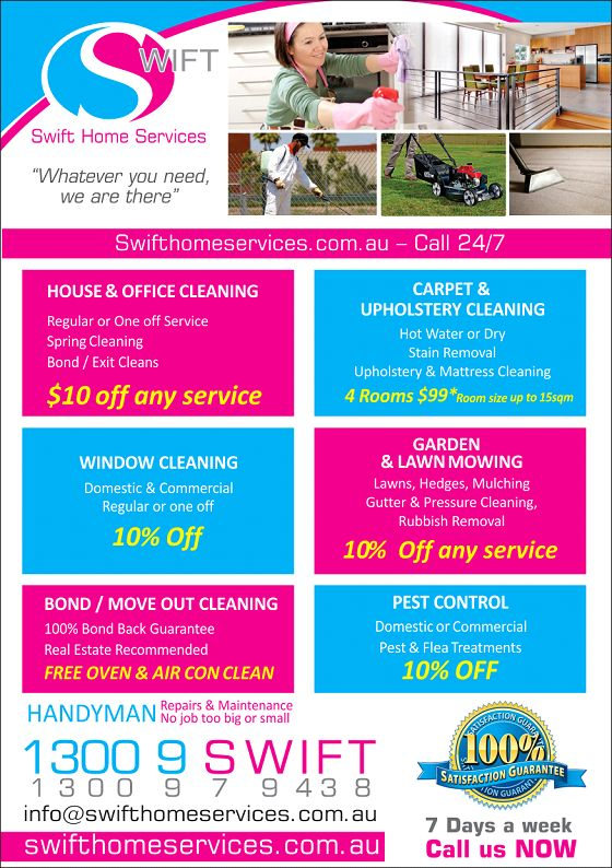 Swift Home Services Offers - swifthomeservices.com.au  Check out our current Cleaning & Service Offers!  Call us on 1300979438 to Book your service.  * One offer only per service.