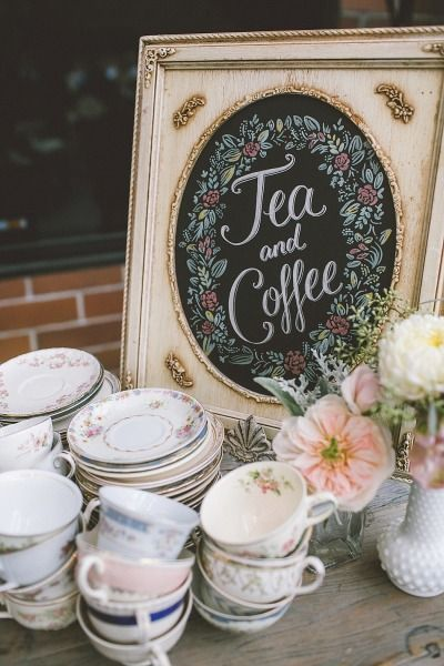 Tea and coffee sign: http://www.stylemepretty.com/2014/12/03/english-inspired-santa-monica-wedding/ | Photography: Anna Delores - http://www.annadelores.com/: