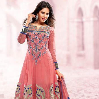 #Peach Net #Anarkali Churidar Kameez