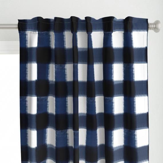 Dark Blue Plaid Curtain Panel Painted Buffalo Check By Jenlats