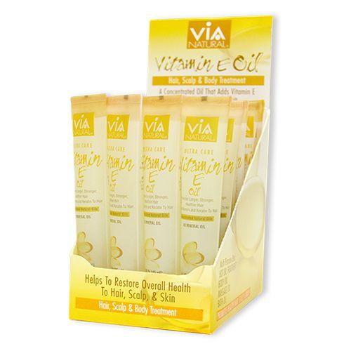 ViA Natural Oil for Hair, Scalp & Body Treatment (Vitamin E Oil) (1.5oz / 24pcs)
