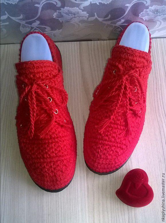 Купить Мокасины Гвоздика - ярко-красный, мокасины летние, обувь ручной работы, вязаная обувь