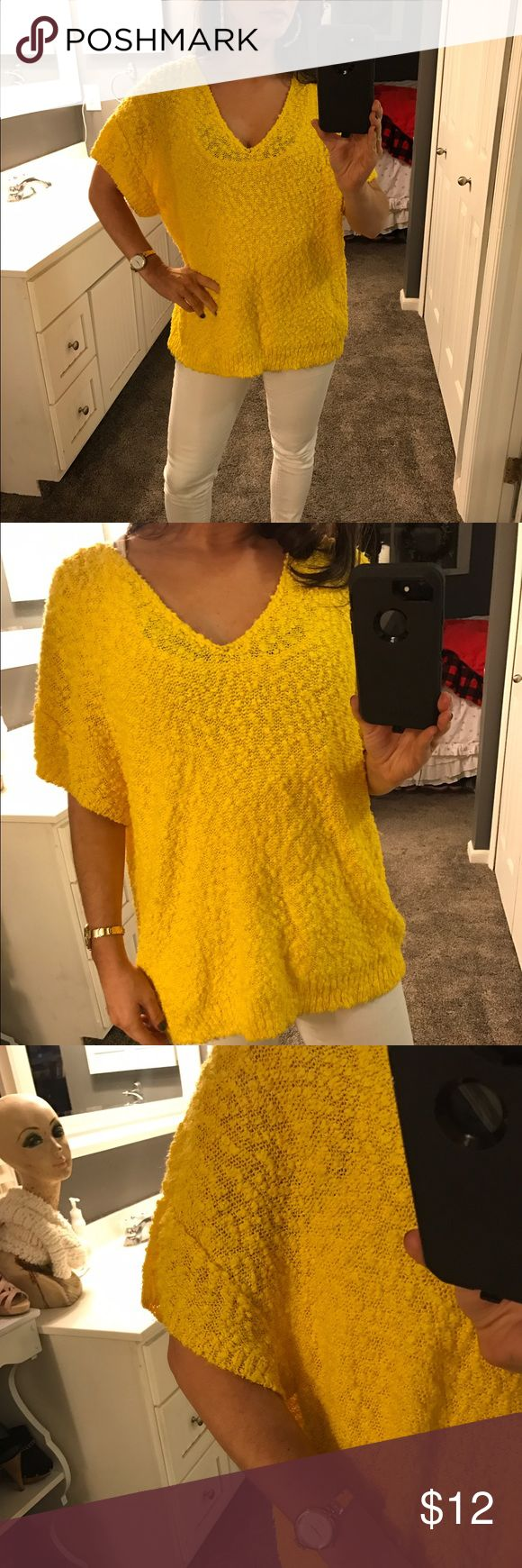 Vintage knit Bright yellow slouchy top Vintage knit sweater.  Bright yellow, v neck, slouchy.  Bright and cheery!  Perfect for spring!  No size tag but fits like a small if you want the baggy look. Vintage Sweaters