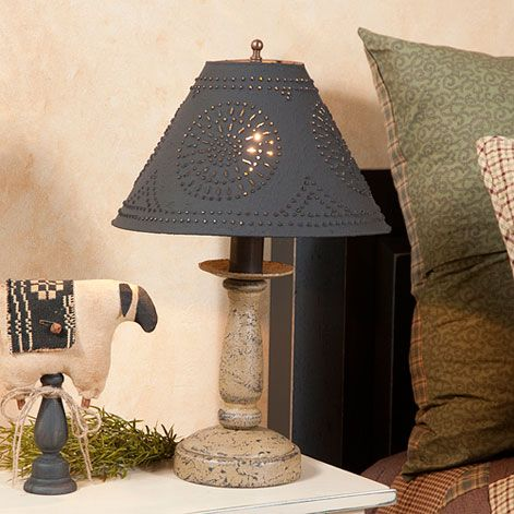 "Irvin's Butcher's Chamberstick Lamp In Americana Colors, pictured with optional Flared Blackened Tin 12.5"" shade."